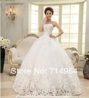 Иви] моды женщин свадебное платье мяч силуэт возлюбленной длиной до пола белые кружева кристалл Свадебные платья плюс размер