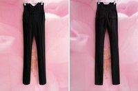Free Shipping Handsome Super Slim Show Long Leg High Waist Tight Pants Trousers, Elegant Lady Unique Pants