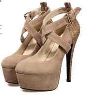 Горячие продажи пряжками сексуальный каблуках 14 см платформа 4 см женщин мода обувь леди мода обувь женщины обувь r105