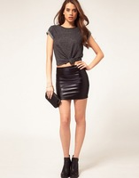 black slim pu skirt free shipping for epacket and china post air mail