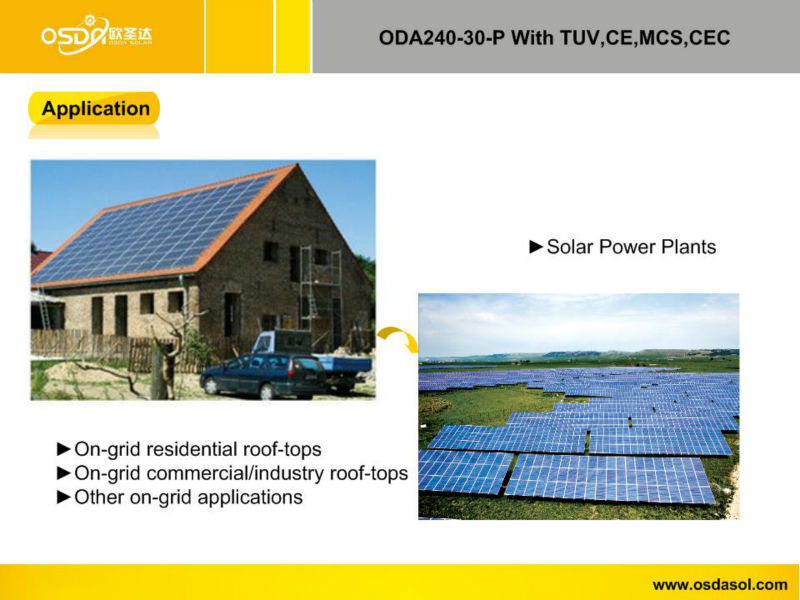 TUV MCS CEC certificated polycrystalline 240W solar panel
