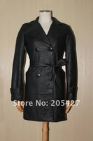 1pcs 2011 Lady long leather coat copy sheep leather garments christmas gift