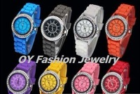 NEW Jelly Fashion Silicone Lady Sport Casual Rhinestone Wrist Watch Rubber M050