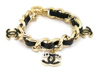 Min.order is $10 (mix order) Gold leather fashion and moving the bracelet of the charm Free Shipping GX0094WV