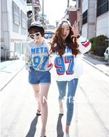 1шт/сумка новые женские осенние цвета хит 97 буквенно-цифровой расслабленной повседневные пуловеры свитер