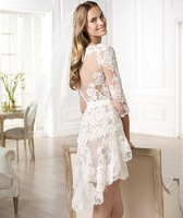 Свадебное платье New Custom Elie Saab Princess Lace Short Wedding Dresses/ Bridal Gown Vestido de Noiva Bride Sexy Short Dress