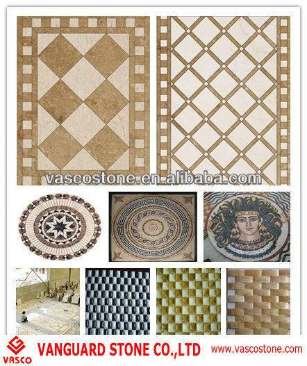 Mosaic Tile Inlays : Waterjet madellion marble mosaic tile floor inlays pattern
