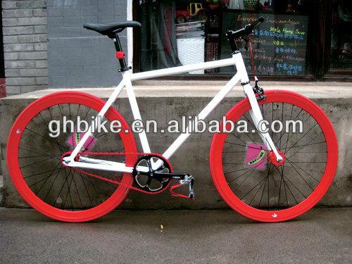 Bike With Red Rims 700c 70mm Rim Fixie Bike Gear
