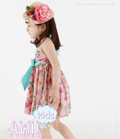 Платье для девочек 2013 new summer short-sleeve Small Broken flower tee dress girls' skirt cotton bowknot dress