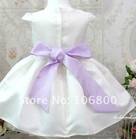 free shipping! baby girl beige princess dress noble dress varabow belt decorate 4pcs/lot noble and generous beautiful wears