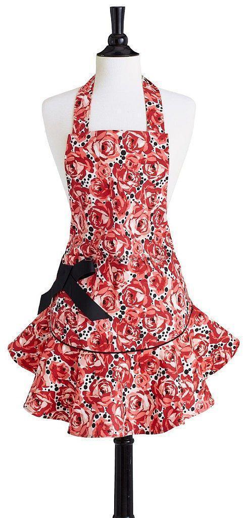 2014 Hot Sale European Sexy Print Embroidery 100% Cotton Lace Kitchen Apron For European Market