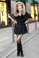 Женская одежда из меха Hot Genuine Farm Rex Rabbit Fur Jacket/Coat Raccoon collar Warm Winter Ladies