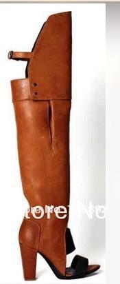 Designer Leather Knee High Boots Peep Toe High Heels Bootie Unique