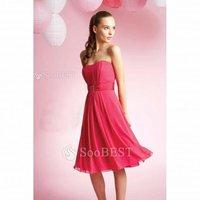 Free Shipping A-line Princess Strapless Ruffles Knee Length Satin Chiffon Bridesmaid Dress #181783