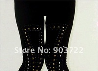 Free shipping FG064-3  Sexy Womens Nylon & Spandex Punk Rock Rivet  Leggings Stretch Performance Stylish tight pants underpants