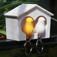 Брелок Couple Bird House Keychain Holder Whistle Key Ring Plug Gift/lovers keychain 2 birds per set