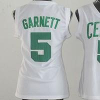Женская футболка для баскетбола Boston 5 Kevin Garnett Womens Basketball Jerseys, Cheap Embroidery Basketball Jersey Kevin Garnett For Women