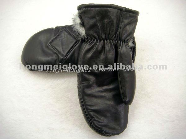 Cheap leather mitten gloves for winter with warm thick polyester lining