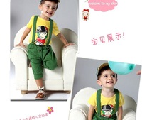 New children's clothing set baby cotton t-shirt kids suit 7 pants piece fitted mouth monkey children overalls