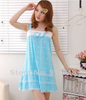 Женские ночные сорочки и Рубашки women hot selling summer bowtie 100% cotton polka dot nightgown / homedress for women / adults homewear
