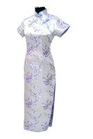 Женское платье Light purple Chinese Women's Satin Polyester Qipao Cheong-sam Long Dress Flower Plus Size S-6XL J3087