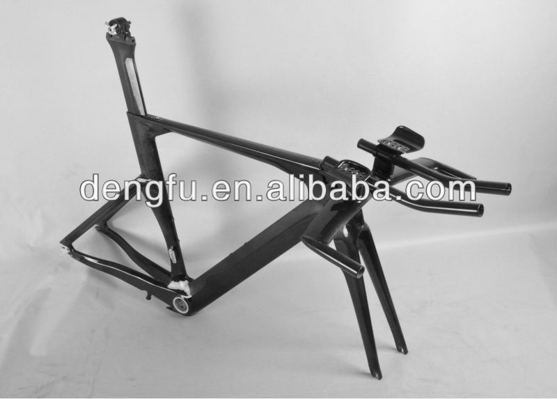 Dengfu hot sale carbon bicycle tt bike frame FM087, New Aero Time trial carbon frameset, size 50/52/54/56cm, BSA/BB30, OEM