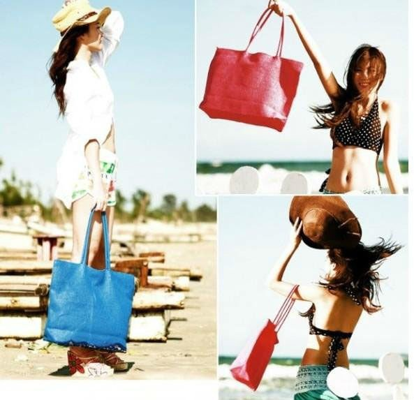 Free shipping 2012 New summer 15 candy colors beach handbag Ladies' fashion Straw Hobo bag