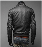 Мужская ветровка Men's stand collar Slim turndown washing PU Leather Leather motorcycle Jackets Coat Outerwear