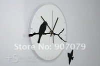 Деревянная мебель The wall clock small bird of the vogue creativity of the mute clock of the art vogue of the outside Mao exquisite article think