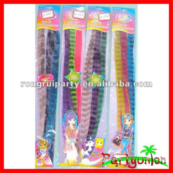 Multi-color Grizzy Clip In Synthetic Hair Extensions For Kids