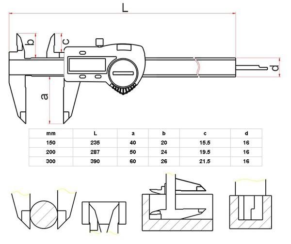 Shahe 0-150mm strumento 6inch IP54 impermeabile nonio digitale di misurazione pinza