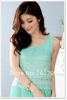 Free Shipping!2012 Summer New sweet cute Cascading Lace pleated Chiffon long dress CH3322 Plus size