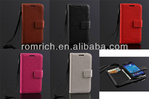 Hot Pink Lichee skin luxury genuine leather flip wallet cover case for samsung galaxy s4 mini