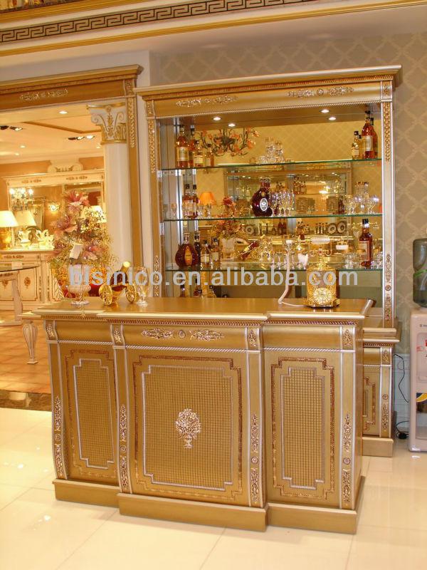 Clásica de madera de color oro muebles de bar set, tallado a mano ...