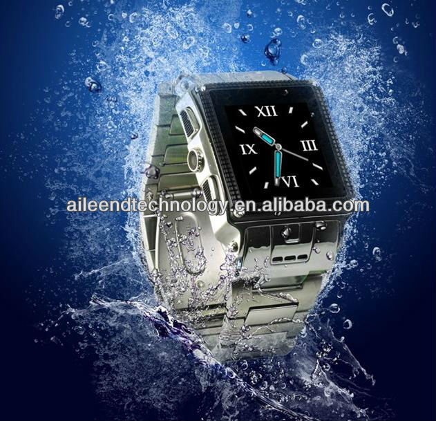 New Waterproof Stainless Steel Watch phone MP3 MP4 Mobile Cell Phone W818 Silver