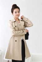 Женский тренч 2012 autumn winter slim long outerwear coat for women Double-breasted jacket WWF014