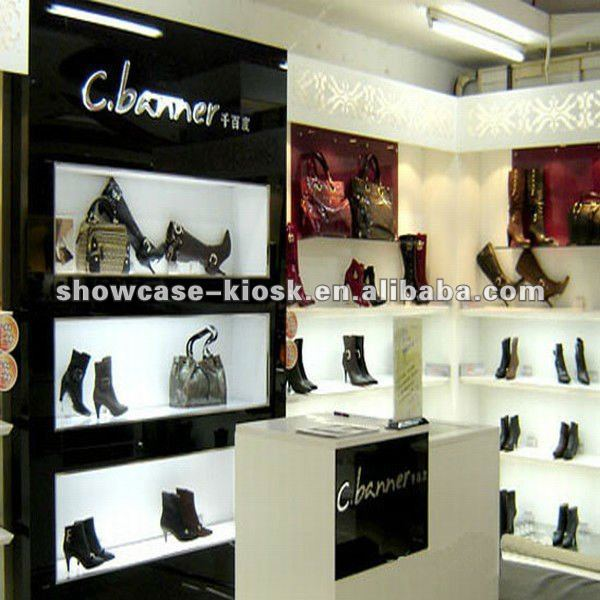 Retail shoes store display racks with lights