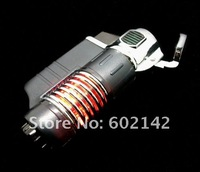 Зажигалка New 3 Flame Triple Jet Windproof Butane Torch Lighter for Cigarette Cigar with LED Random