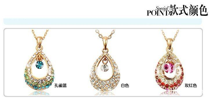 Free Shipping Korea customer orders  Best seller Cheap Quality Crystal diamond necklace water drop
