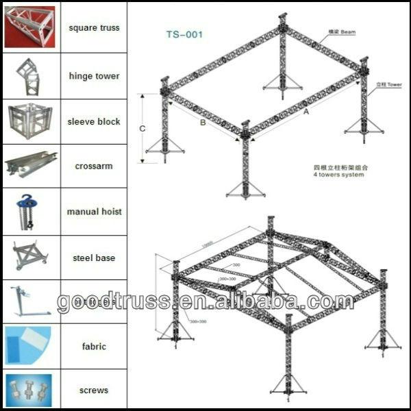 Portable modular aluminum roof truss system view modualr for Cheap truss systems