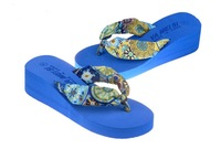 Женские сандалии Summer bohemia flower flip flops platform wedges women sandals platform flip slippers beach shoes
