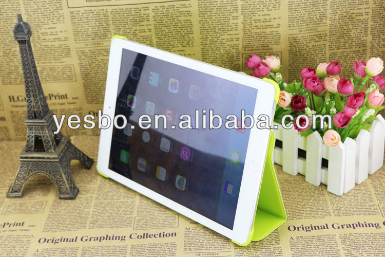 New design 3 folding smart cover case for iPad 5 leather flip cover for ipad Air