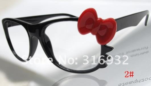 Hello Kitty Eyeglasses Fashion Ladies' Glasses Cute Beard Cat Glasses High Quality , without lens