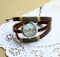 Наручные часы Holiday sale Genuine Cow leather punk bracelet watch women ladies fashion Vintage handmad Weaven watch style KOW014