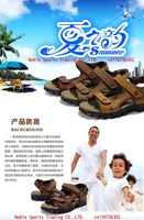 Мужские сандалии Top quality summer original men's sandals top layer genuine leather sandals casual beach shoes rubber sole size:38-44