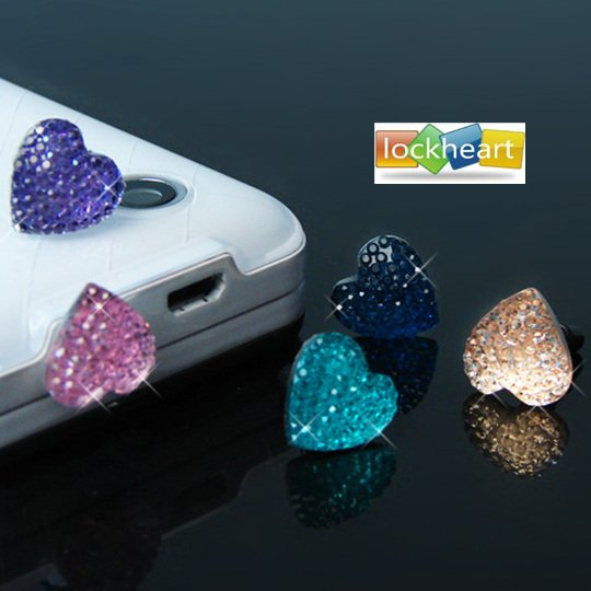 Anti Dust Plug Stopper Set shining love heart design 3.5mm Dust proof plug plastic dust cover For iPhone 4 freeshipping 50pcs