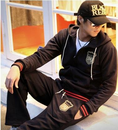 free shipping fashion sports wear for men  gym suits cotton leisure tracksuit/ sweatsuit wholesale & retail 4 color M-XXXL YJ77