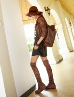Женские ботинки 2013 MeiShi Fashion Leopard Winter Flat Heel Boots, Over The Knee Boots For Women