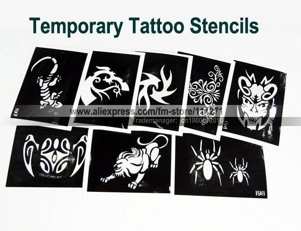 Tattoo stencils templates mixed designs airbrush glitter