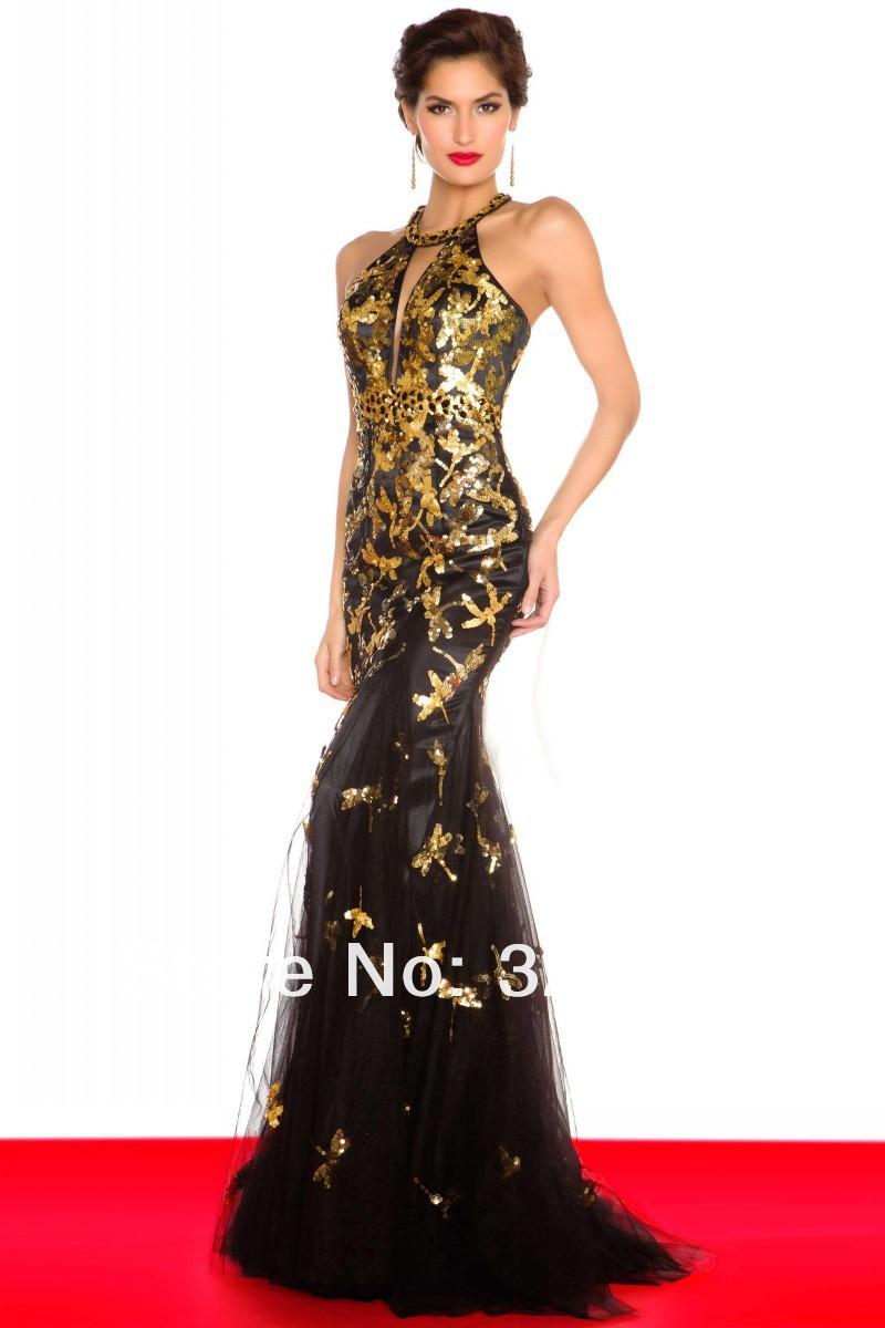Платье золото с черным